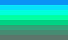Uma bandeira composta por 8 faixas horizontais do mesmo tamanho, em uma espécie de degradê que vai da cor azul à verde e finalmente à cor cinza.