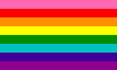 Retângulo composto por 8 faixas horizontais do mesmo tamanho, nas cores rosa, vermelha, laranja, amarela, verde, turquesa clara, roxa azulada escura e roxa.