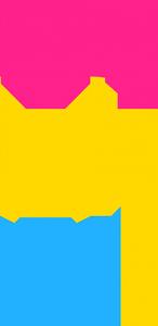Símbolo pan com cores da bandeira pansexual