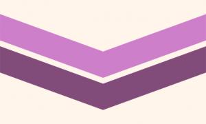Uma bandeira de fundo creme com dois chevrons apontados para baixo. O chevron de cima é roxo claro e o de baixo é roxo escuro.