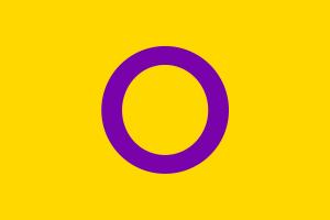 Retângulo amarelo na horizontal com contorno de círculo roxo no meio