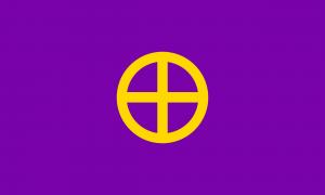 Uma bandeira de fundo roxo com um símbolo amarelo composto de um círculo com uma cruz em seu centro.