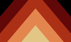 Descrição da imagem: Uma bandeira retangular formada por diversos triângulos. O triângulo menor, central na parte inferior, é de uma cor creme. Atrás dele, há um triângulo maior laranja claro. Atrás deste, um triângulo maior laranja avermelhado. Atras deste, podem ser vistas faixas marrons. Atrás delas, é possível ver um fundo preto, ou talvez marrom escuro.