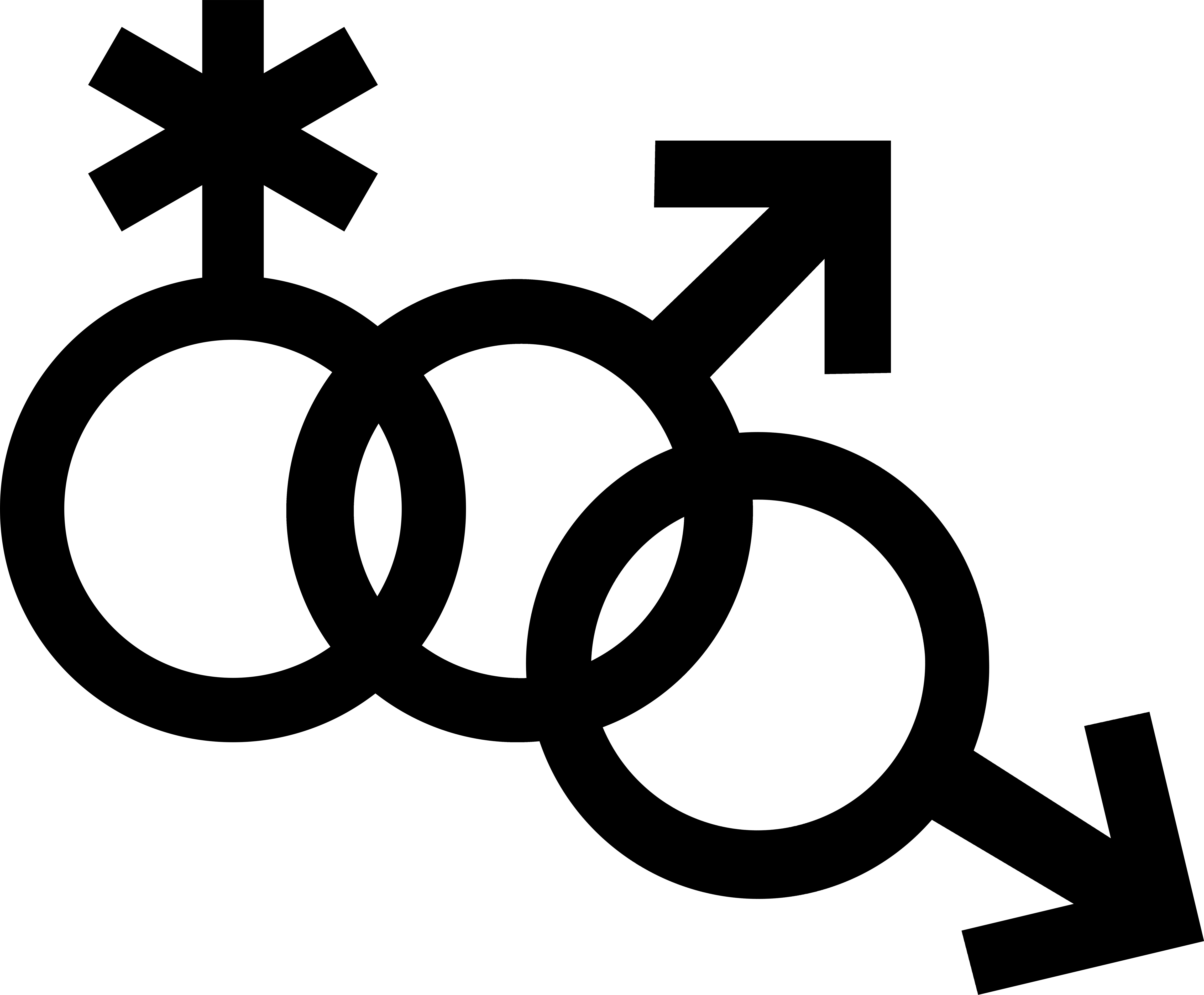 Mars symbol interlocked with a nonbinary symbol and another Mars symbol.