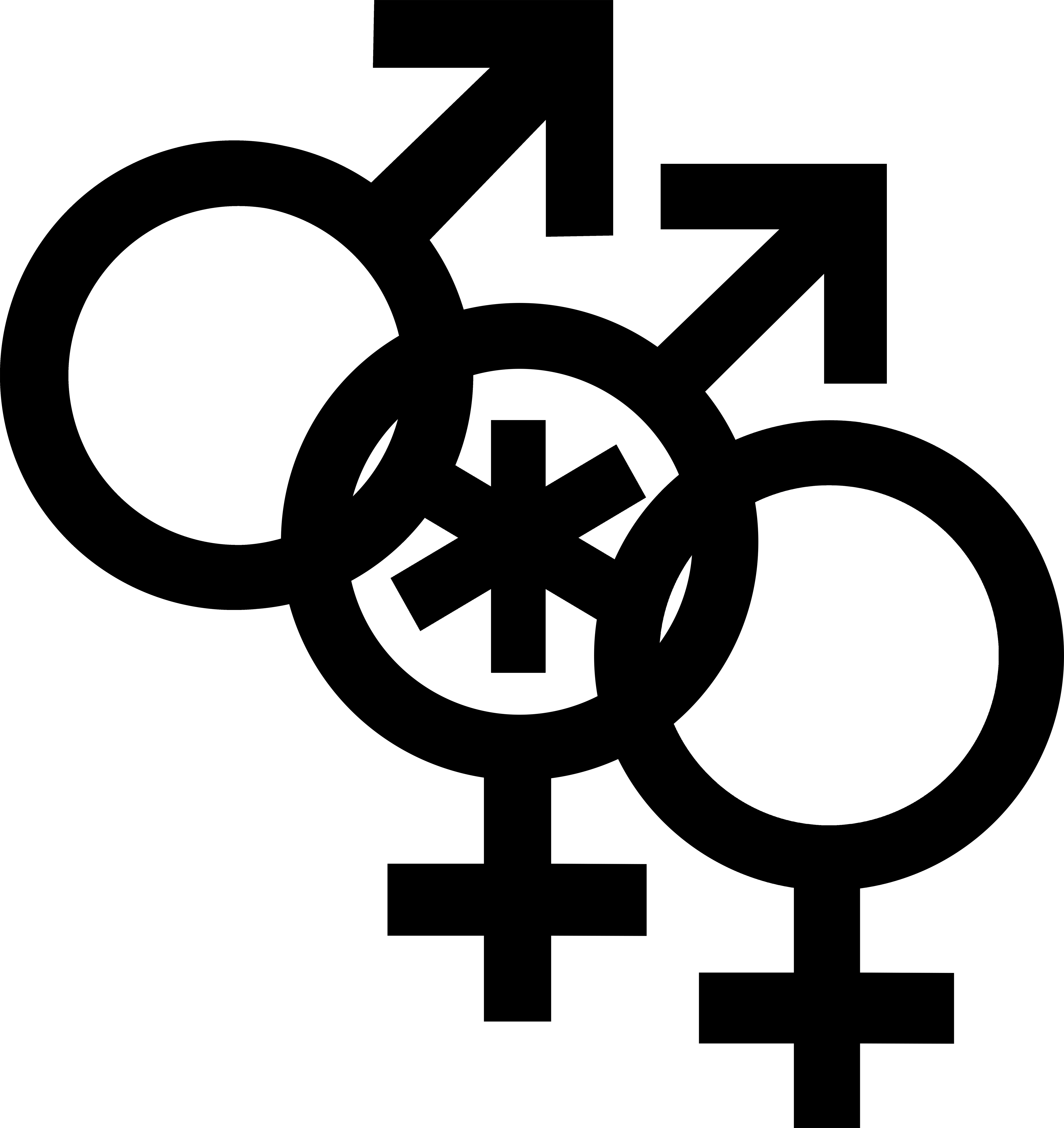 Nonbinary man symbol interlocked with a Mars symbol and a Venus symbol.