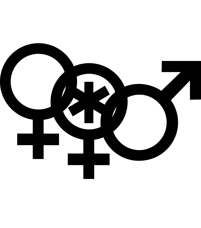 Nonbinary woman symbol interlocked with a Venus symbol and a Mars symbol.