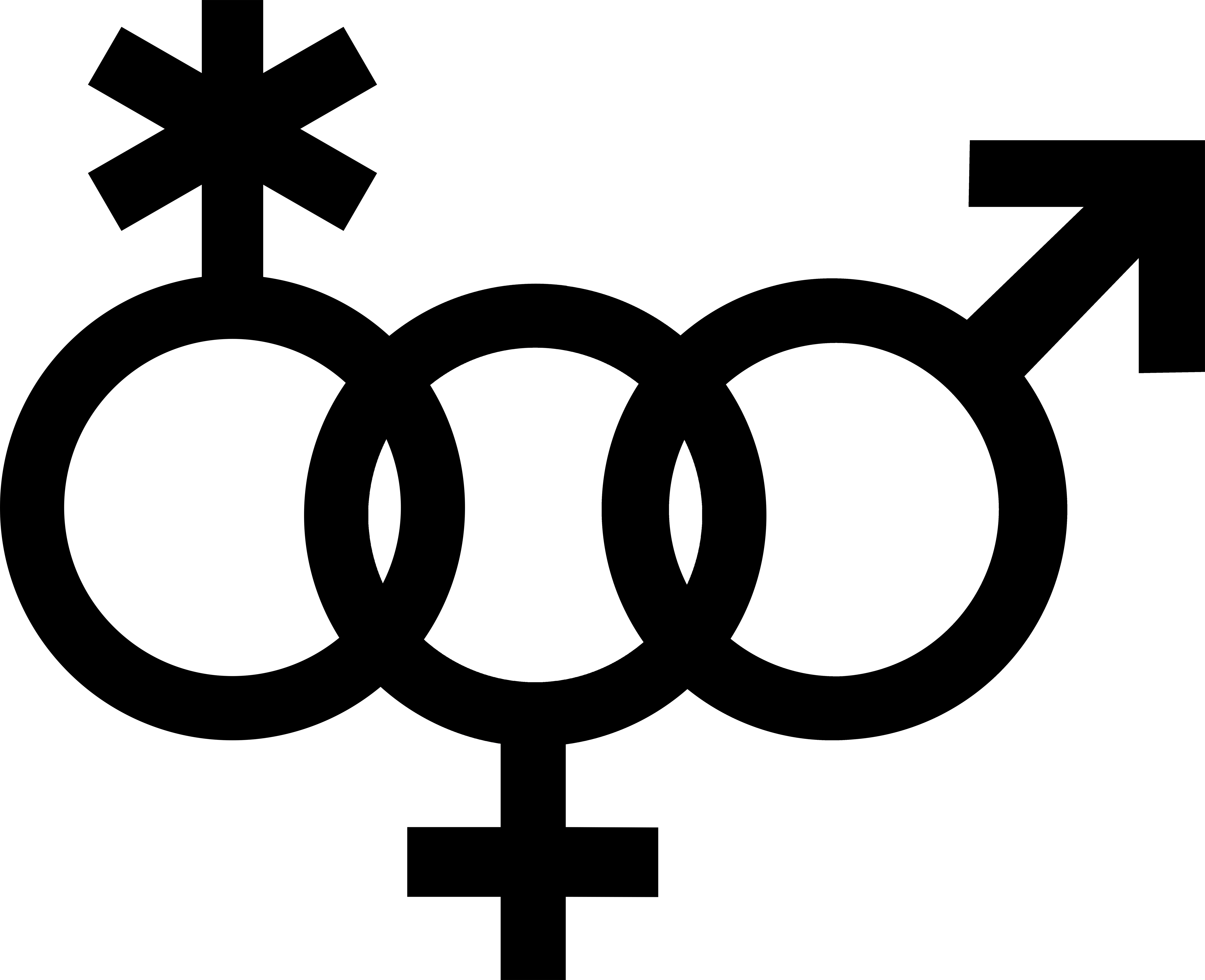 Venus symbol interlocked with a nonbinary symbol and a Mars symbol.