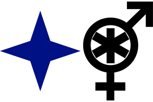 Description: A four-pointed dark blue star and a black symbol that's a combination of Mars and Venus symbols with an asterisk within the circle