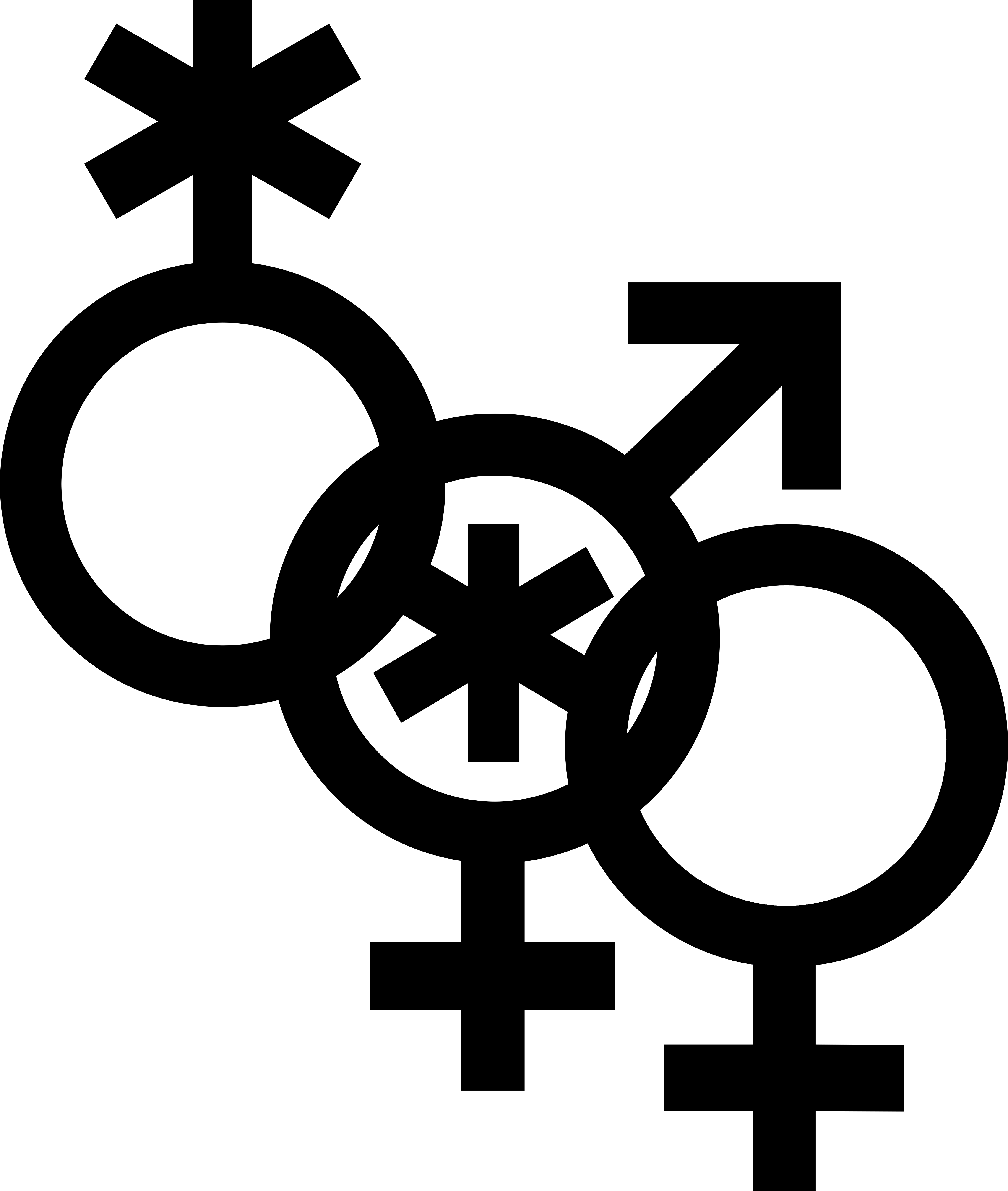 Nonbinary man and woman symbol interlocked with nonbinary symbol and a Venus symbol.