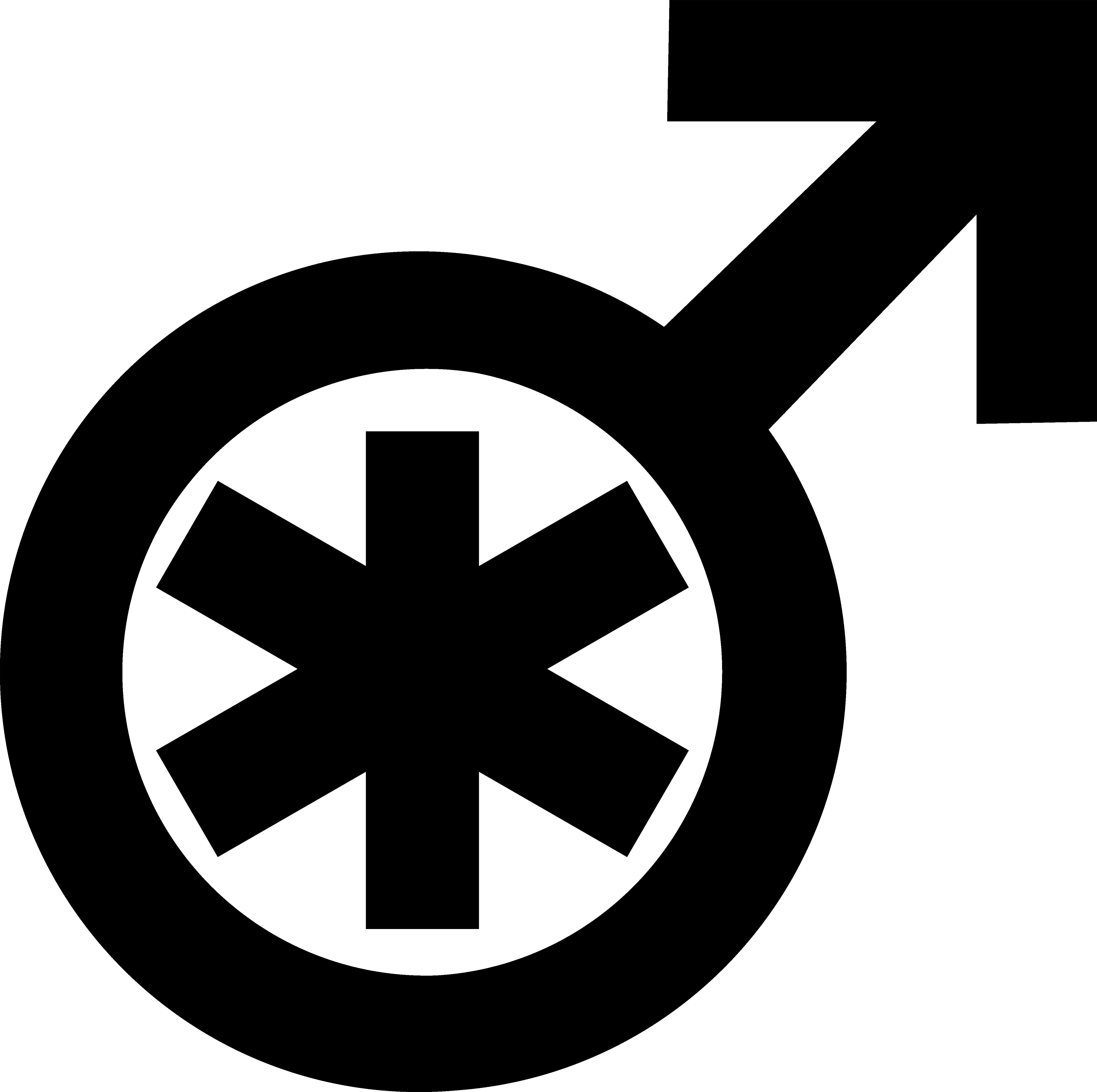 A Mars symbol (circle with an arrow coming out from its border towards up and to the right) with an asterisk within the circle.