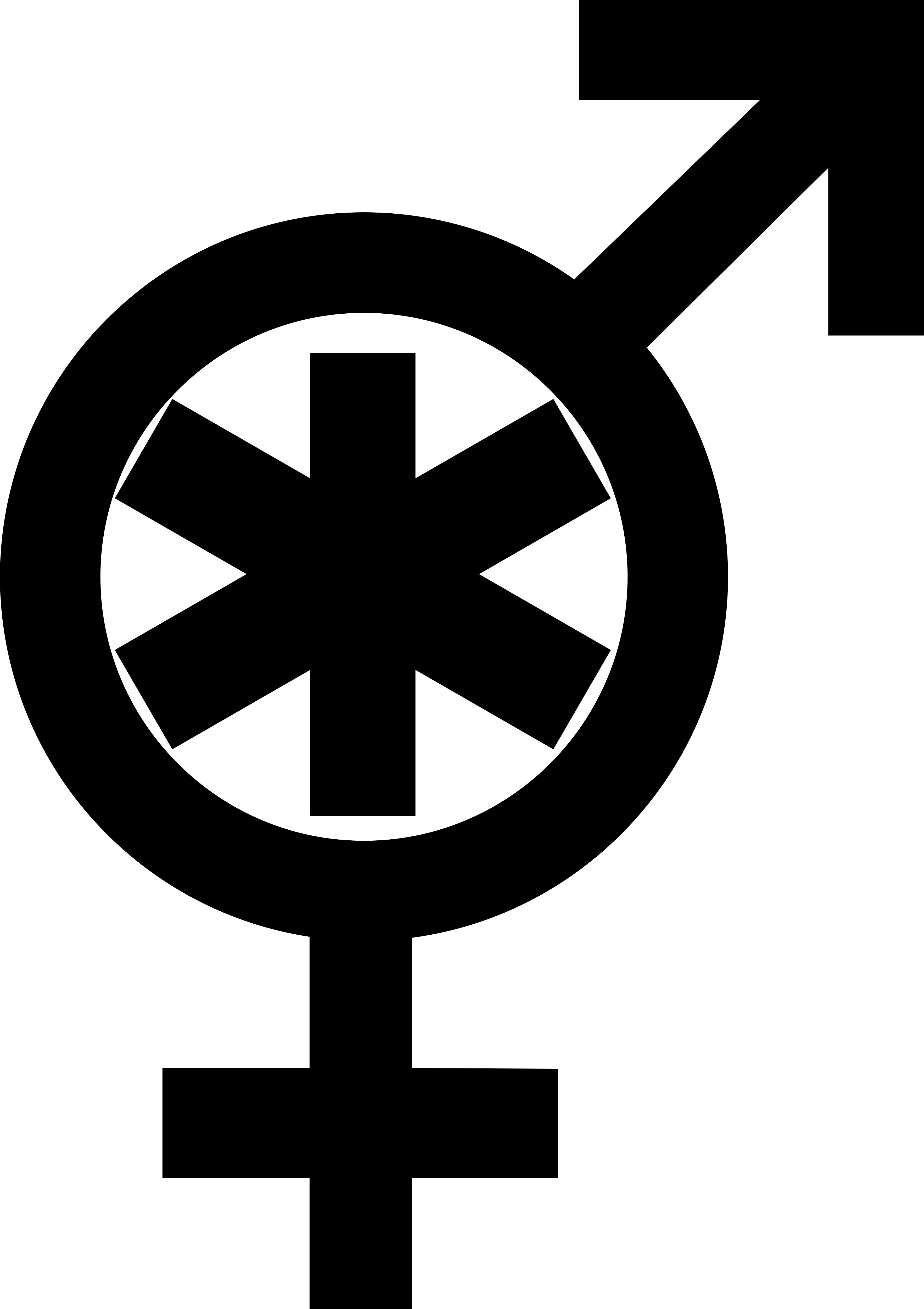 A combination of Mars and Venus symbols with an asterisk within the circle.