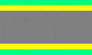 Uma bandeira composta por 5 faixas horizontais: verde clara, amarela, cinza, amarela e verde clara. As faixas verdes e amarelas são bem estreitas, enquanto a faixa central cinza ocupa a maior parte da bandeira.