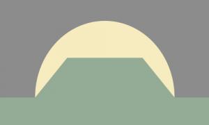Um retângulo composto por um fundo cinza, uma forma circular amarela clara no centro da bandeira e algo como um trapézio verde fundido acima de uma faixa horizontal da mesma cor na parte de baixo da bandeira.