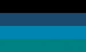 Quatro faixas horizontais do mesmo tamanho, nas cores preta, azul escura, azul esverdeada e verde azulada.