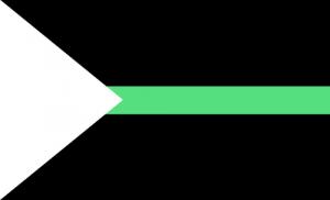 Fundo preto com um triângulo branco apontando da esquerda para a direita e uma faixa verde no meio.