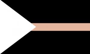Fundo preto com um triângulo branco apontando da esquerda para a direita e uma faixa bege no meio.