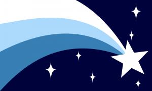 Um fundo azul escuro com uma estrela branca em seu canto inferior direito de onde saem três faixas curvas nas cores branca, azul clara e azul em direção à esquerda. No resto da bandeira, alguns brilhos brancos podem ser vistos.