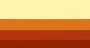 4 faixas horizontais na proporção 22:13:11:10. Suas cores são amarela clara, laranja, vermelha e marrom avermelhada.