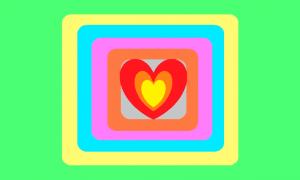 Retângulo composto por um fundo verde claro e vários retângulos quase quadrados com bordas arredondadas um no meio do outro. Do externo para o interno, tais retângulos são amarelo, azul, rosa, laranja e cinza. Preenchendo quase todo o retângulo cinza, há três corações, um dentro do outro, com o mais externo sendo vermelho, o do meio sendo laranja e o do centro sendo amarelo.