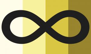 Quatro faixas verticais do mesmo tamanho, em tons amarelos que vão de um bem claro até um escuro. Há um grande símbolo de infinito preto que cobre a bandeira do canto esquerdo até o canto direito, que está centralizado verticalmente.