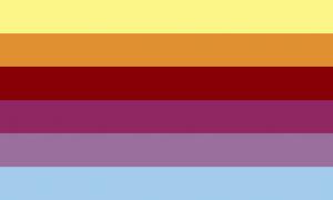 Retângulo composto por 6 faixas horizontais do mesmo tamanho, nas cores amarela, laranja, vermelha escura, roxa, roxa acinzentada e azul clara.