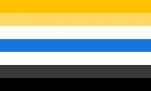 Um retângulo de 7 faixas horizontais do mesmo tamanho nas cores amarela, amarela clara, branca, azul, cinza escura e preta.