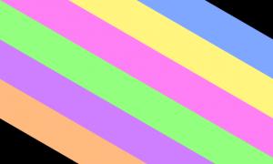 uma bandeira composta por um fundo preto quase todo coberto por 6 faixas diagonais, que vão do canto superior esquerdo ao canto inferior direito. Suas cores, da esquerda pra direita, são laranja, roxa, verde, rosa, amarela e azul. Todas as cores são claras e bastante saturadas.