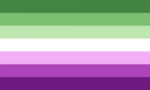 7 faixas horizontais do mesmo tamanho, nas cores verde escura, verde, verde clara, branca, roxa clara, roxa e roxa escura.