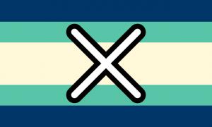Retângulo composto por 5 faixas horizontais, na proporção 1:1:2:1:1, nas cores azul escura, verde, amarela pálida, verde e azul escura. Há também um X em seu centro, branco com bordas arredondadas pretas.