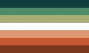 Retângulo composto por 7 faixas horizontais do mesmo tamanho, nas cores ciano bem escura, verde limão escura, amarela esverdeada escura, branca, laranja dessaturada, laranja escura forte e marrom alaranjada.