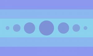Bandeira composta por 5 faixas horizontais na proporção 1:1:2:1:1 (a faixa central possui o dobro do tamanho das outras). Tais faixas possuem três tons de azul leves, sendo que a faixa central é mais clara e as faixas das extremidades são menos claras. A faixa central contém 7 círculos preenchidos em uma linha horizontal de forma simétrica, sendo que os círculos das extremidades são menores e em tons mais claros e o círculo central é maior e menos claro. Os círculos também são de tons de azul pouco saturados.
