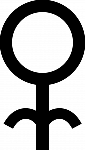 Símbolo composto por um contorno de um círculo do qual parte uma linha reta indo para baixo. De tal linha, saem duas linhas curvas simétricas indo para a esquerda e para a direita, além do resto da linha reta que vai para baixo. É como se fosse o princípio de uma letra M minúscula.