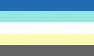 Retângulo composto por cinco faixas horizontais do mesmo tamanho, nas cores azul, ciano, branca, amarela clara e cinza.
